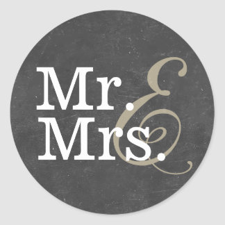Elegant Mr. and Mrs. Chalkboard Wedding Favor Classic Round Sticker