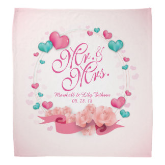 Elegant Mr. & Mrs. Candy Hearts Bandana
