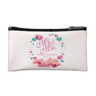 Elegant Mr. & Mrs. Candy Hearts Cosmetic Bag