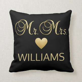 Elegant Mr. Mrs. Name Gold Black Heart Throw Throw Pillow