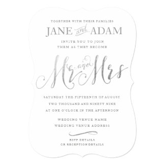 Elegant Mr & Mrs Silver Typography Wedding Invite