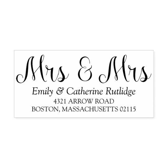 Elegant Mrs & Mrs Lesbian Name & Address Self-inking Stamp