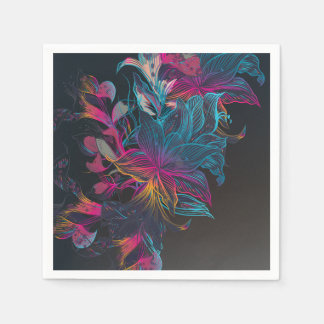 Elegant Multi-color Floral Design Sketch | Napkin