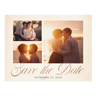 Elegant Multi-Photo Copper Save the Date Postcard