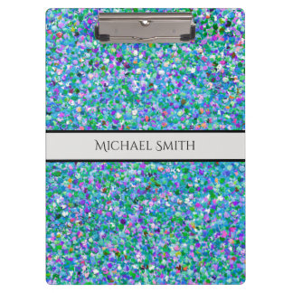 Elegant Multicolor Mosaic Modern Grit Glitter #2 Clipboard