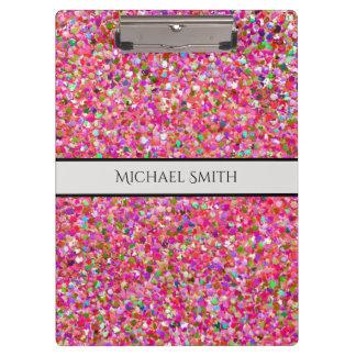 Elegant Multicolor Mosaic Modern Grit Glitter #4 Clipboard