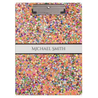 Elegant Multicolor Mosaic Modern Grit Glitter #5 Clipboard