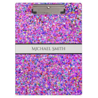 Elegant Multicolor Mosaic Modern Grit Glitter #8 Clipboard