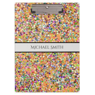 Elegant Multicolor Mosaic Modern Grit Glitter #9 Clipboard