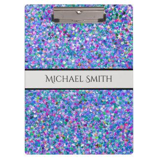 Elegant Multicolor Mosaic Modern Grit Glitter Clipboard