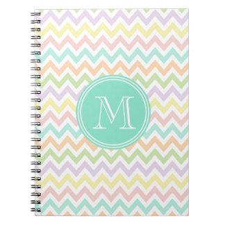 Elegant multicoloured geometry of chevrón monogram notebooks