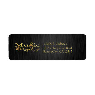 Elegant Music is Life black and gold labels