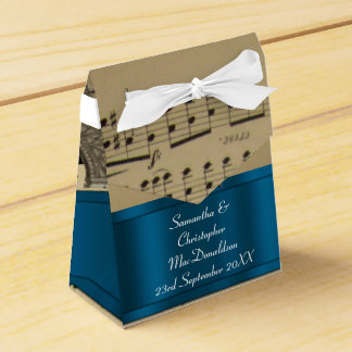 Elegant music sheet and blue wedding wedding favor box