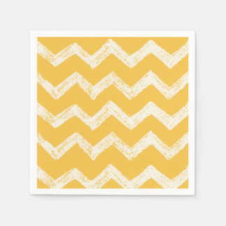 Elegant mustard yellow chevron pattern paper napkin