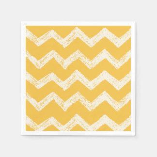 Elegant mustard yellow chevron pattern paper napkins