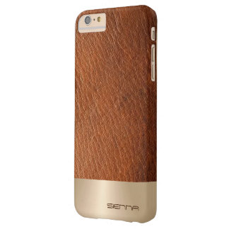 Elegant Nacre Metallic & Leather Pattern Barely There iPhone 6 Plus Case