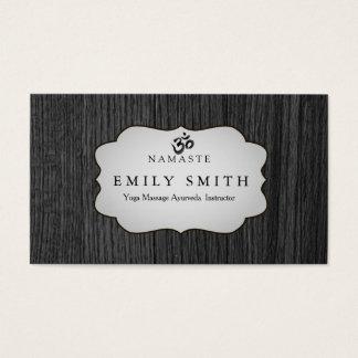 Elegant  Namaste Yoga Dark Wood Background Business Card