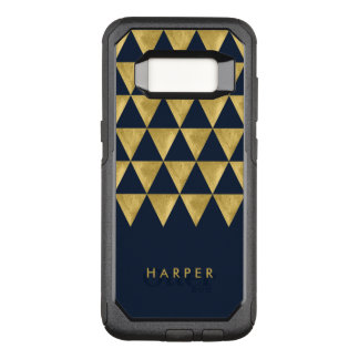Elegant Name Blue Triangle Geometric OtterBox Commuter Samsung Galaxy S8 Case