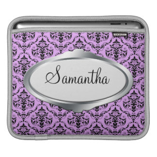 Elegant Nameplate Purple Damask iPad Sleeve