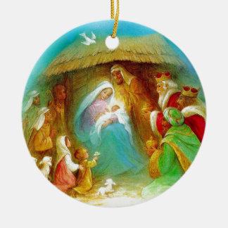 Elegant Nativity scene, Mary Jesus Joseph Ceramic Ornament