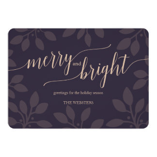 Elegant Nature Merry & Bright Holiday Greeting Card