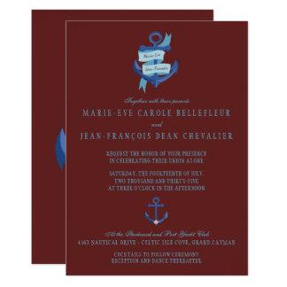 Elegant Nautical Blue Anchor Destination Wedding Card