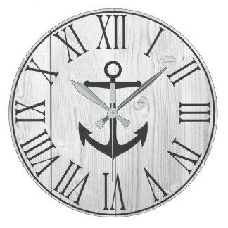 Elegant Nautical Faux White Wood & Gray Anchor Large Clock