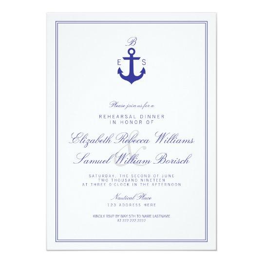 Elegant Nautical Monogram Rehearsal Dinner Invite