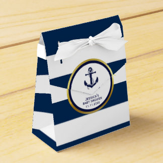 Elegant Nautical Navy Blue White Baby Shower Gift Party Favor Boxes