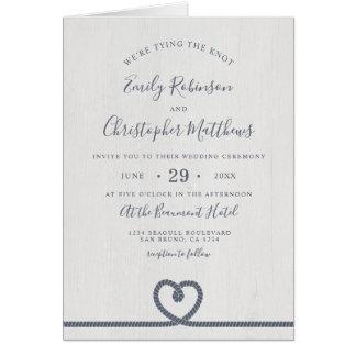 Elegant Nautical Tying The Knot Wedding Invitation