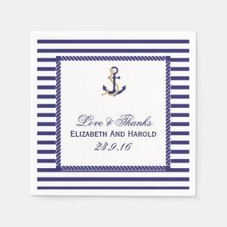 Elegant Nautical Wedding Navy Stripes Disposable Napkins