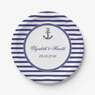 Elegant Nautical Wedding Navy Stripes Paper Plate