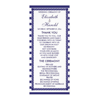 Elegant Nautical Wedding Navy Stripes Program Card