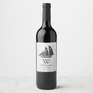 Elegant Nautical White Wood Gray Sailboat Wine Label
