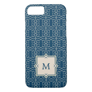 Elegant Navy and Blush Pattern with Monogram iPhone 8/7 Case