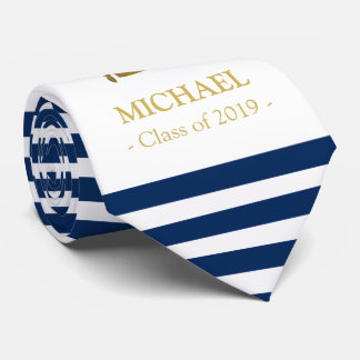 Elegant navy and gold personalized graduation tie