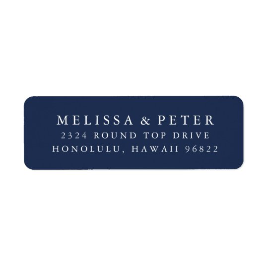 Elegant Navy and White Return Address
