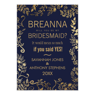 """Elegant Navy Blue and Gold Floral Bridesmaids 5"""" X 7"""" Invitation Card"""