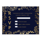 Elegant Navy Blue and Gold Floral RSVP Postcards