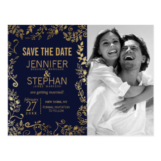 Elegant Navy Blue and Gold Floral Save the Dates Postcard