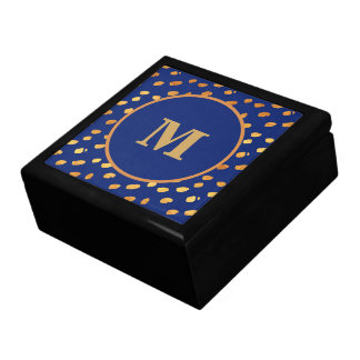 Elegant Navy Blue and Gold Monogram Gift Box