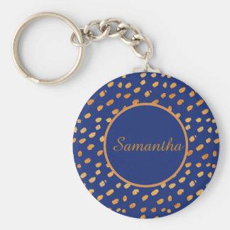 Elegant Navy Blue and Gold Monogram Keychain