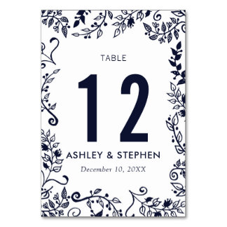 Elegant Navy Blue and White Floral Table Numbers Table Card