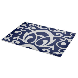 Elegant Navy Blue and White Glass Cutting Board