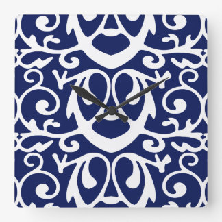 Elegant Navy Blue and White Wall Clock
