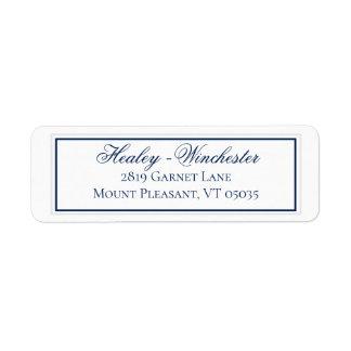 Elegant Navy Blue and White Wedding Address Label