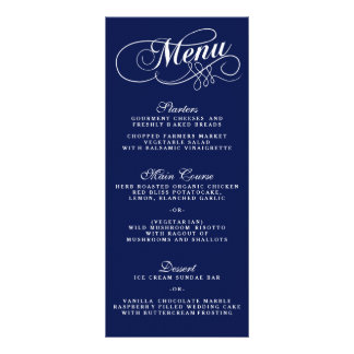 Elegant Navy Blue And White Wedding Menu Templates Full Colour Rack Card