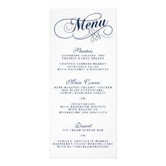 Elegant Navy Blue And White Wedding Menu Templates Rack Card Design
