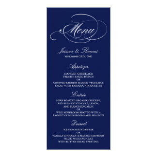 Elegant Navy Blue And White Wedding Menu Templates Rack Cards