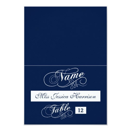 Elegant Navy Blue And White Wedding Place Cards